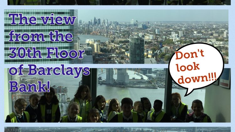 Year 6 take a peek at the view from the 30th floor of Barclays Bank