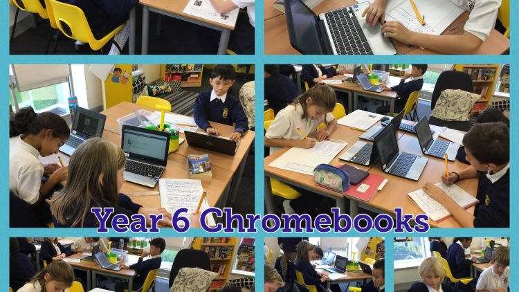 Year 6 using  our new Google Chromebooks!