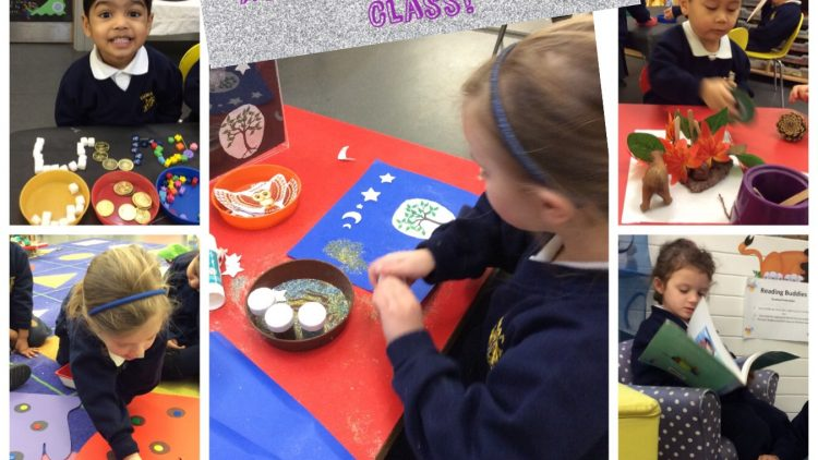 Nursery class have fun exploring activities linked to 'One Snowy Night'.