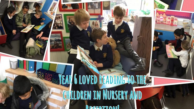 Buddy Reading in Year 6, Nursery and Reception!