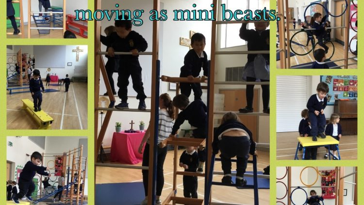 Nursery class move with confidence as they experiment different ways of moving as mini beasts.