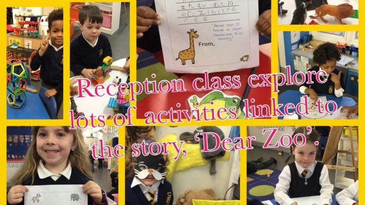 Reception class enjoys lots of activities linked to 'Dear Zoo'.