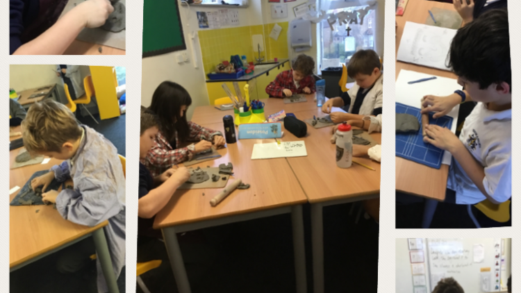 Year 4 learnt about Ancient Greek Theatre and spent the morning designing and creating our theatre masks out of clay!