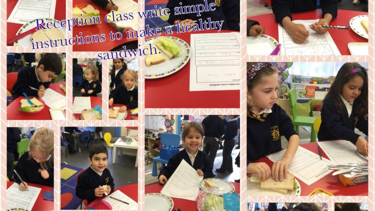 Reception class write simple instructions to make delicious sandwiches!